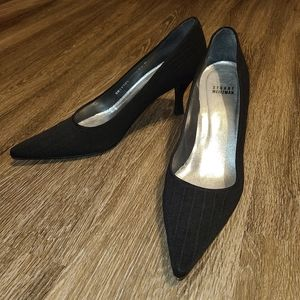 Stuart Weitzman Black Fabric Stripe Leather Heels
